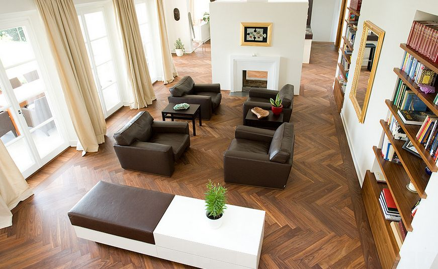 modern herringbone wooden floor